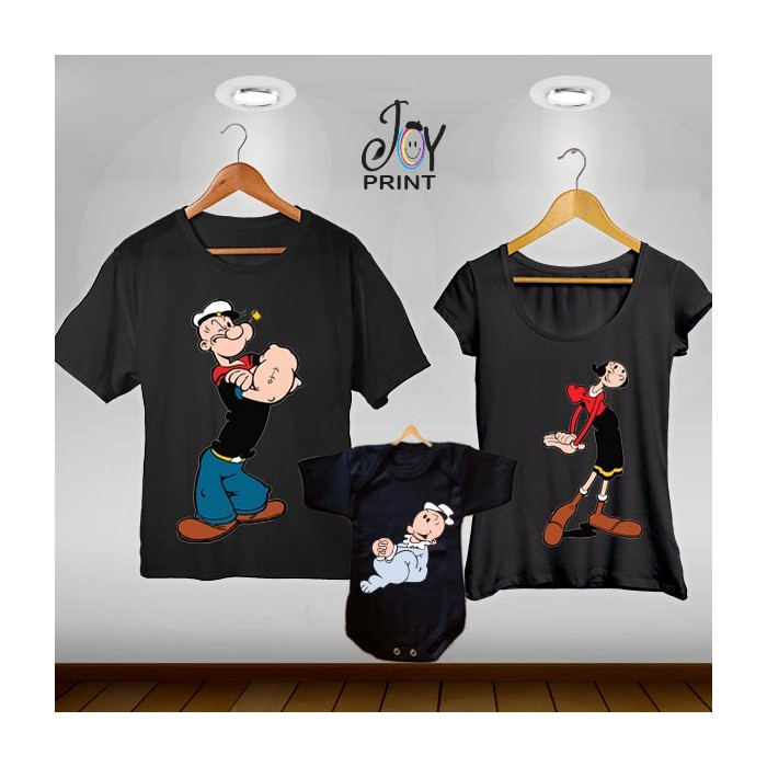 Tris T-shirt/body  Popeye Nero
