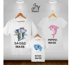 Tris T-shirt  shark bianco