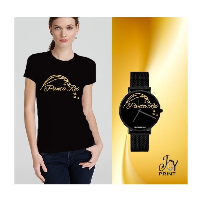 Tshirt+orologio panta rei nero e oro