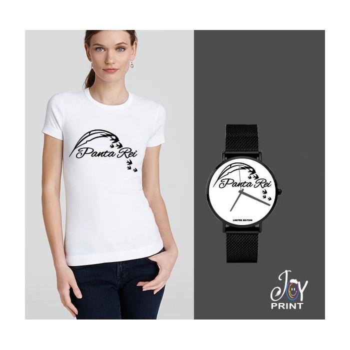 Tshirt+orologio panta rei bianco e nero