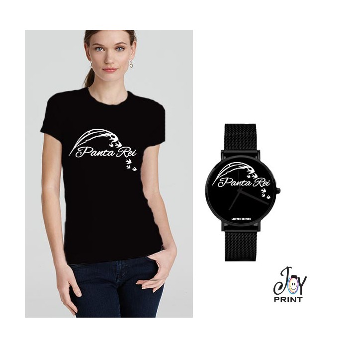 Tshirt+orologio panta rei nero e bianco