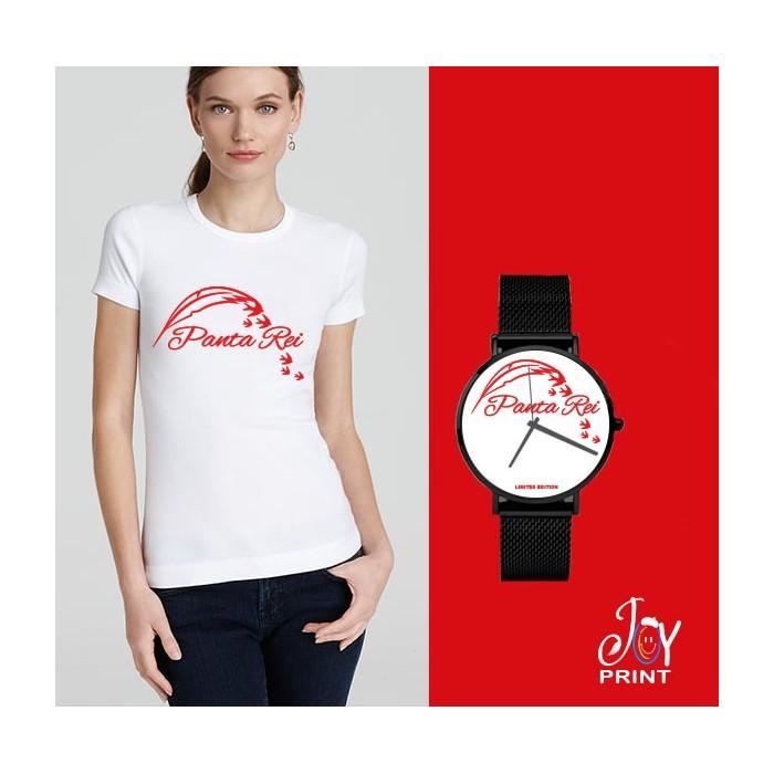 Tshirt+orologio panta rei bianco e rosso