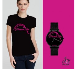 Tshirt+orologio panta rei nero e fuxia
