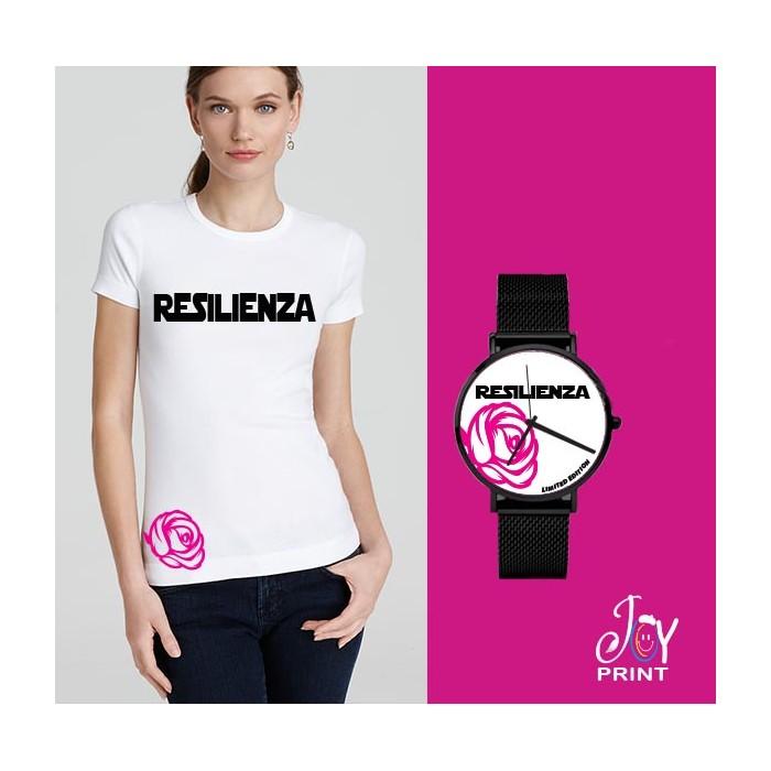 Tshirt+orologio Resilienza bianco e fuxia
