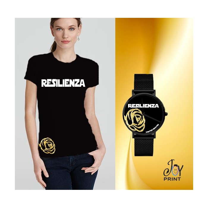 Tshirt+orologio Resilienza nero e oro
