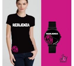 Tshirt+orologio Resilienza nero e fuxia