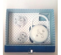 Tris Baby ciuccio, catenina e portaciuccio bianco