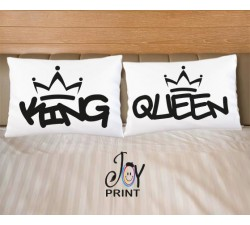 Coppia di federe King e Queen graffiti