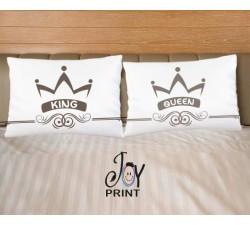 Coppia di federe King e Queen crowe