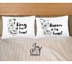 Coppia di federe King e Queen heart
