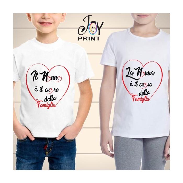 T Shirt bambino Festa dei Nonni Heart Family