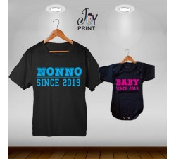 Coordinato t shirt festa dei nonni Since Nero