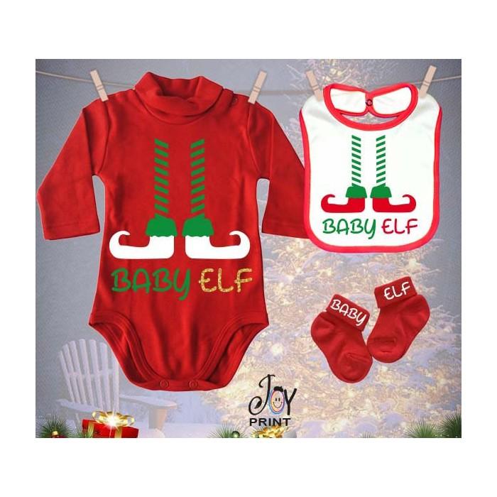 Tris Baby Natale Personalizzato Elf Natale