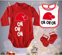 Tris Baby Natale Personalizzato  Oh Oh Oh