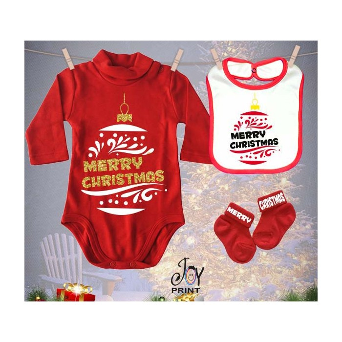 Tris Baby Natale Personalizzato Christmas ball