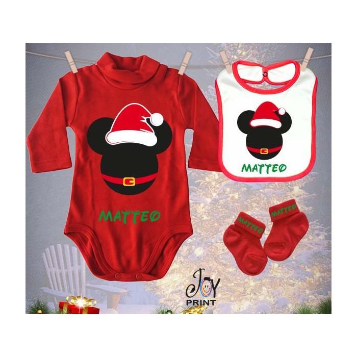 Tris Baby Natale Personalizzato Topolini