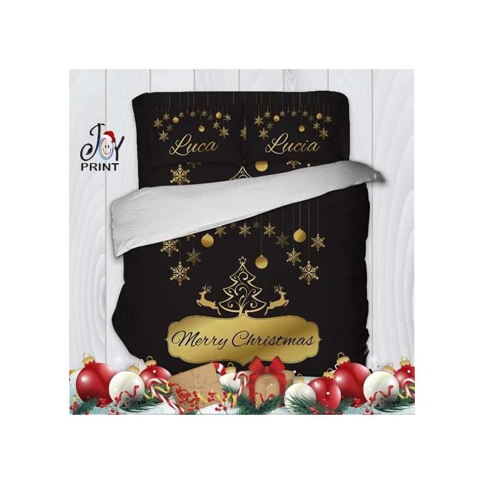 Copripiumino con Federe Natale Albero Gold