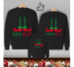 Tris di Felpe/Lupetto Family Natale Elf Nero