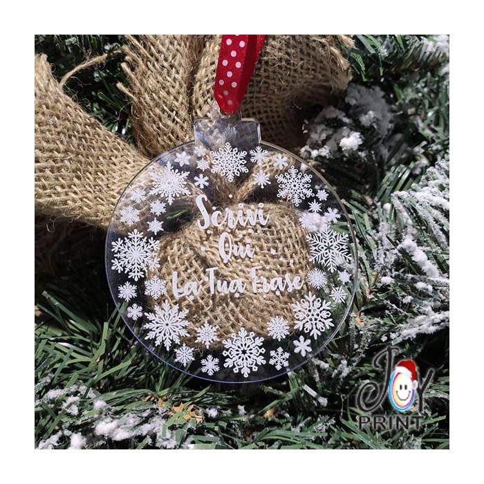 Addobbo Palla in Plexiglass di Natale Personalizzata Dedica Idea Regalo