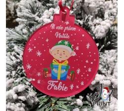 Addobbo Palla in Plexiglass di Natale Personalizzata Elfo