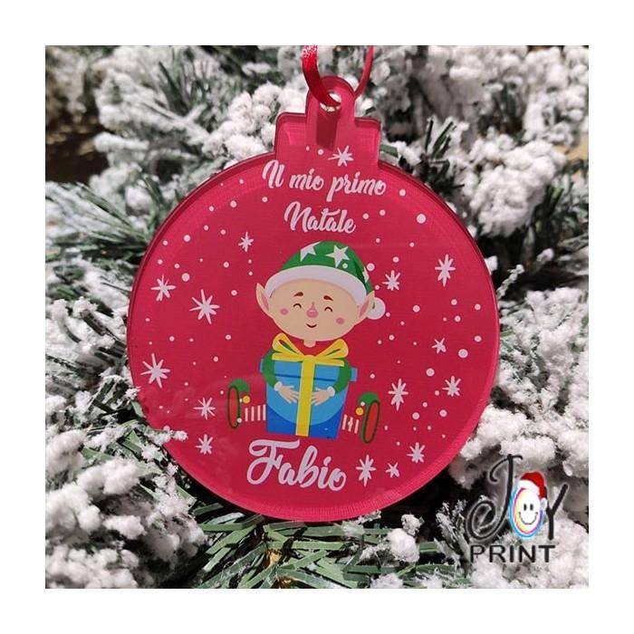 Addobbo Palla in Plexiglass di Natale Personalizzata Elfo Idea Regalo