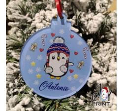 Addobbo Palla in Plexiglass di Natale Personalizzata Pinguino Idea Regalo