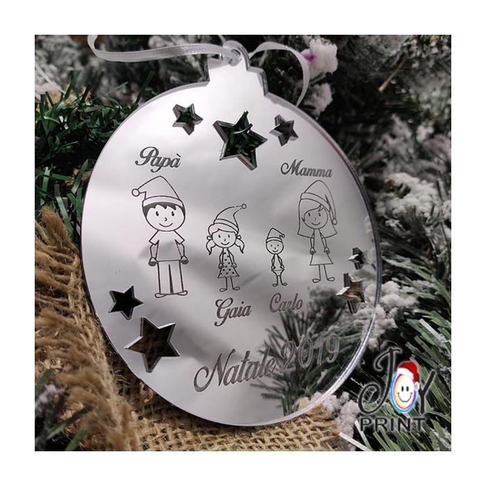 Addobbo Palla in Plexiglass di Natale Personalizzata Family Idea Regalo
