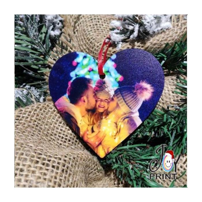 Addobbo Cuore in Plexiglass di Natale Personalizzato con foto Idea Regalo