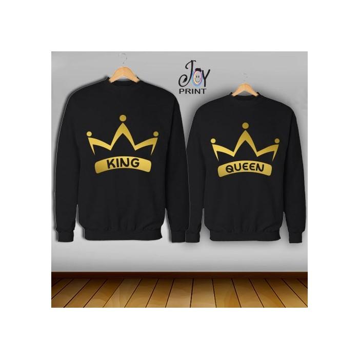 Coppia di felpe king e Queen Oro Corona