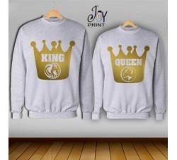 Coppia di felpe king e Queen Oro Leoni