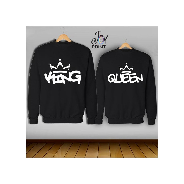 Coppia di felpe king e Queen Graffiti