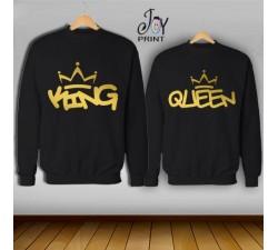 Coppia di felpe king e Queen Oro Graffiti