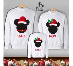 Tris di Felpe/Lupetto Family Natale Mickey Mouse bianco