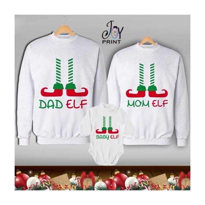 Tris di Felpe/Lupetto Family Natale Elf bianco