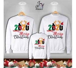 Tris di Felpe/Lupetto Family Natale Buon Natale Bianco