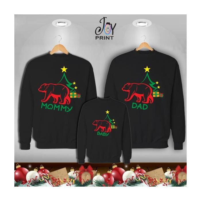 Tris di Felpe/Lupetto Family Natale Famiglia orso Nero