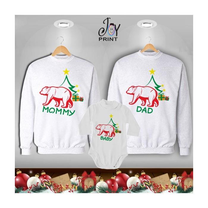 Tris di Felpe/Lupetto Family Natale Famiglia orso Bianco