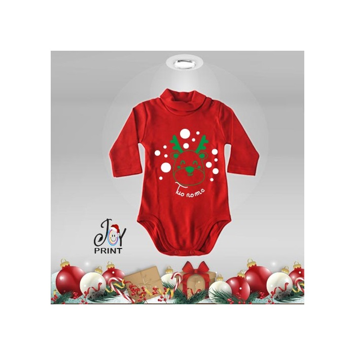 Body Lupetto Neonato Personalizzato Natalizio Christmas pois