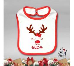 Bavetto Bavetta Bavaglino Personalizzato Natalizio Christmas Reindeer Idea Regalo