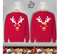 Coppia di felpe Personalizzate Christmas reindeer red