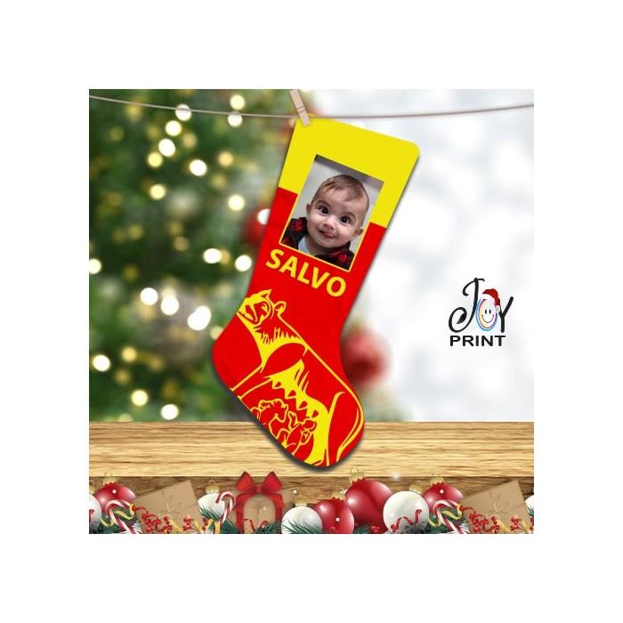 Calza Befana Personalizzata Con Foto e Nome Idea Regalo Roma Calcio