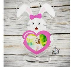 Cornice in plexiglass pasqua Rabbit Pink personalizzata con foto