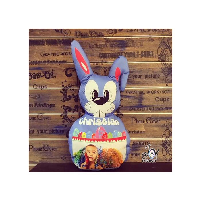 Cuscino Pasqua Sagomato Coniglietto blu personalizzato con foto e nome