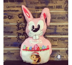 Cuscino Pasqua Sagomato Coniglietto Pink personalizzato con foto e nome