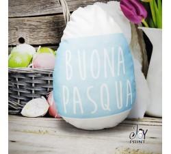 Cuscino Pasqua Sagomato Rabbit Azzurro personalizzato con foto