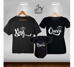 Tris T-shirt/body King e Queen royalty  Nero