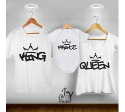 Tris T-shirt/body King e Queen Graffiti