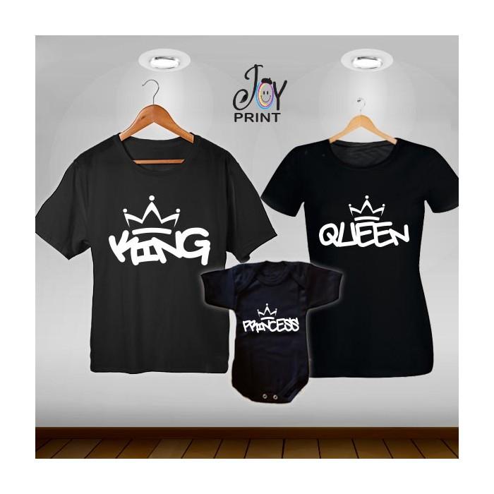 Tris T-shirt/body King e Queen Graffiti nero