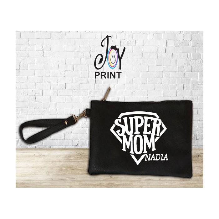 Pochette donna festa della mamma Super Mom personalizzata con nome Bianca