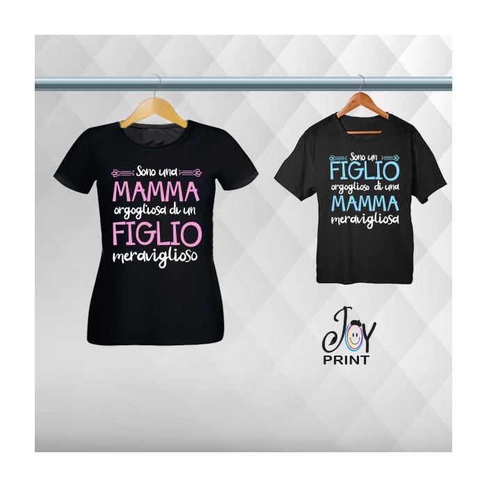 Coordinato T-shirt Festa Della Mamma Siamo Fieri Nero